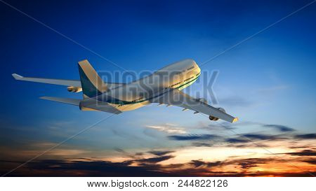 3D illustration of an Airplane and the sunset sky