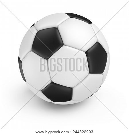 Classic Soccer Ball Isolated on White Background. 3D Illustration. Black and White Football Ball.