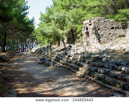 Ruins On The Main Street Of Ancient Phaselis. Turkey