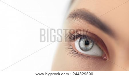 Beautiful human eye close-up. Young Woman Blue one eye macro shoot. Macro Closeup eye looking up, isolated on white background.