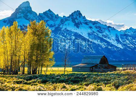 Grand Tetons scenic classic mountain landscape Moulton barn scene
