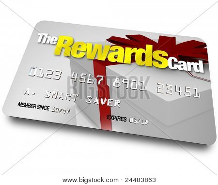 A credit card with the name The Rewards Card and a present shown on it illustrating the benefits, refunds and rebates you can earn by using a membership account when buying poster