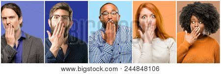 Group of cool people, woman and man covers mouth in shock, looks shy, expressing silence and mistake concepts, scared