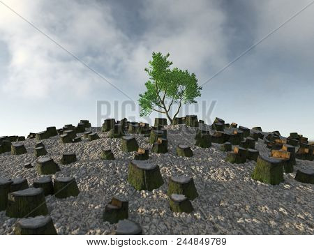 lone tree among the stumps, 3d illustration