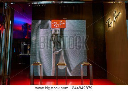 MILAN, ITALY - CIRCA NOVEMBER, 2017: display window at Ray-Ban shop in Milan. Ray-Ban is a brand of sunglasses and eyeglasses.