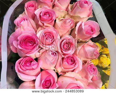 Close up bouquet rose in shop