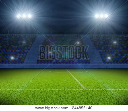 Soccer Stadium with Green Grass Field with Bright Floodlight Background. Football Backdrop. 3D Illustration.