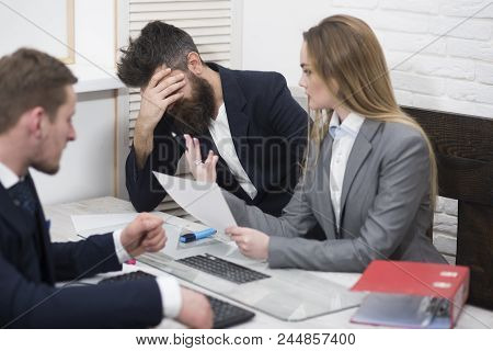 Business Colleagues At Meeting, Office Background. Office Atmosphere Concept. Business Negotiations,