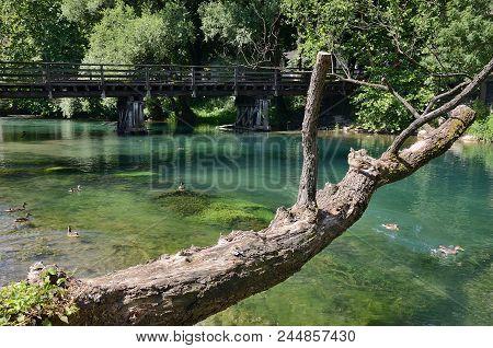 Old Wooden Bridge Over Una River In Bihac. Bosna And Hercegovina.