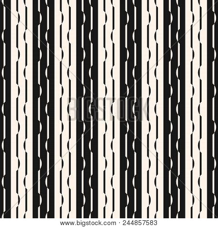 Vertical Stripes Seamless Pattern. Abstract Striped Black And White Vector Background. Linear Graphi