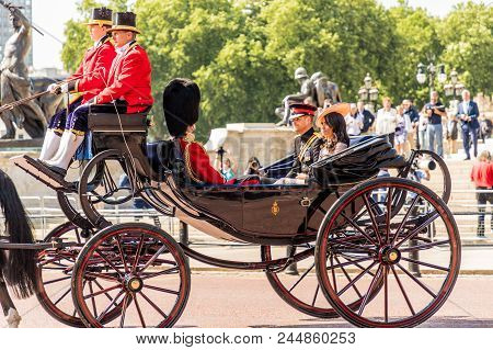 London. June 9 2018. A View Of The Royal Carriage Carrying Prince Harry And The New Duchess Of Susse