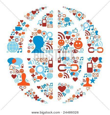 World Symbol In Social Media Network Icons