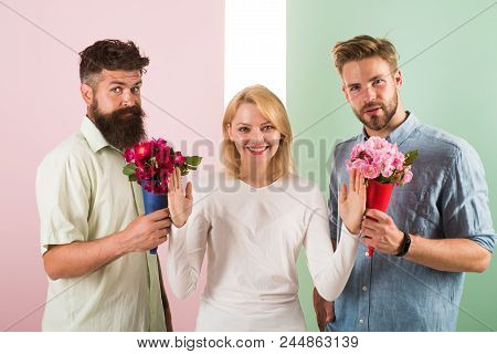 Men Competitors With Bouquets Flowers Try Conquer Girl. Girl Smiling Reject Gifts. Out Of Relations.