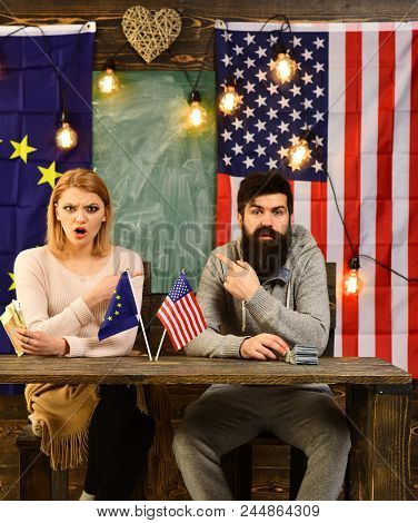 Foreign Policy Conflict. Bearded Man And Woman Politician At Conference. Contract Negotiation And Bu