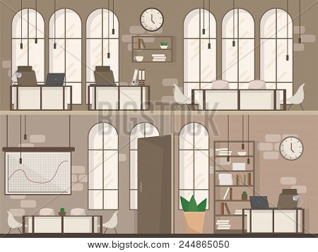 Empty Coworking Space Interior Modern Coworking Office Creative Workplace Space Two Floors Flat Vect