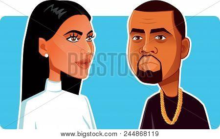 N.y.,u.s. June 9, 2018, Kim Kardashian And Kanye West Vector Caricature
