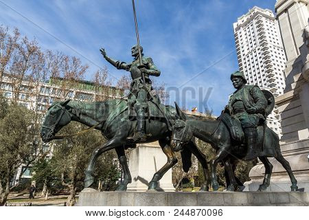Madrid, Spain - January 23, 2018:   Monument To Cervantes And Don Quixote And Sancho Panza At Spain