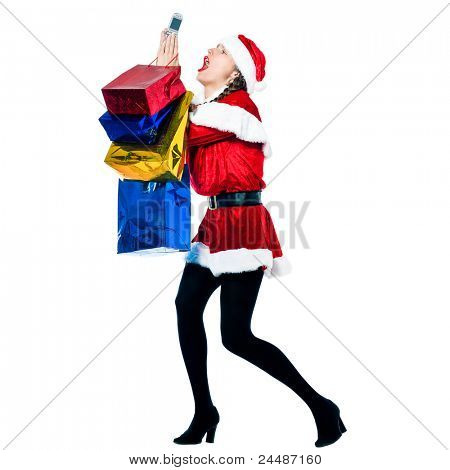 one woman dressed as santa claus carrying despair on the telephone christmas bags  on studio isolated white background