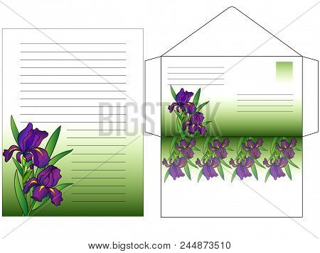 Envelope And A Sheet For Writing Letters Colored With Flowers Irises. Set To Write A Letter. Greetin