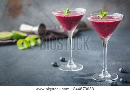Alcohol Frozen Blueberry Cocktail Margarita With Tequila And Lime