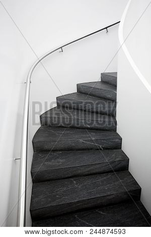 Staircase In Luxury House, Modern Stairs Detail House, Stone Stairs, Stone Steps Staircase, Modern S