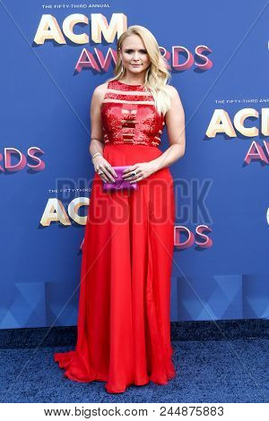 LAS VEGAS-APR 15: Singer Miranda Lambert attends the 53rd Annual Academy of Country Music Awards on April 15, 2018 at the MGM Grand Arena in Las Vegas, Nevada.