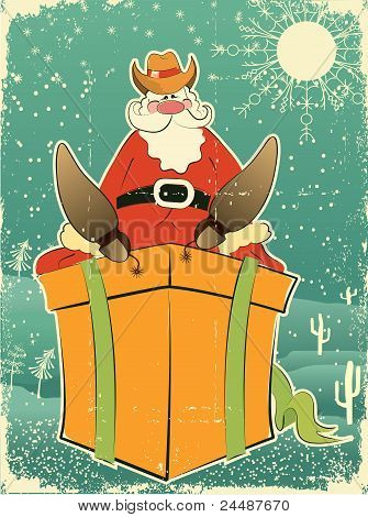 Santa Claus With Cowboy Hat And Boots On Present Box.retro Card For Selebrate