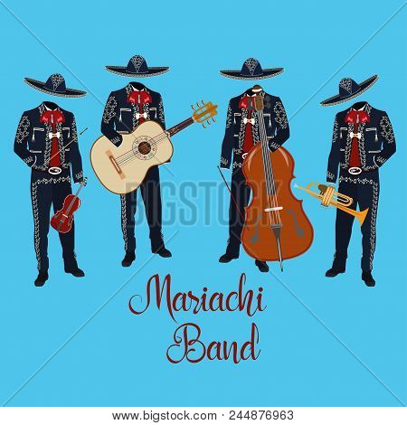 Mariachi Musicians With Guitar, Trumpet, Violin, Double Bass In Mariachi Traditional Costume And Som