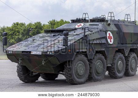 Feldkirchen / Germany - June 9, 2018: German Armoured Medical Carrier Boxer, From Bundeswehr, Drives