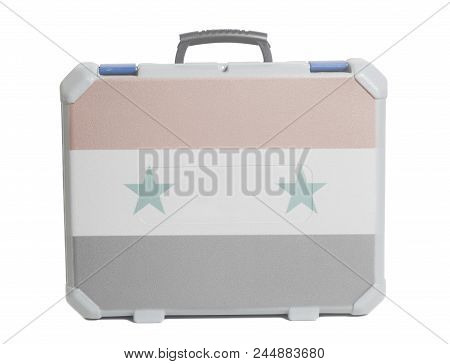 Business Travel Suitcase With Flag Of Syria Isolated On A White Background