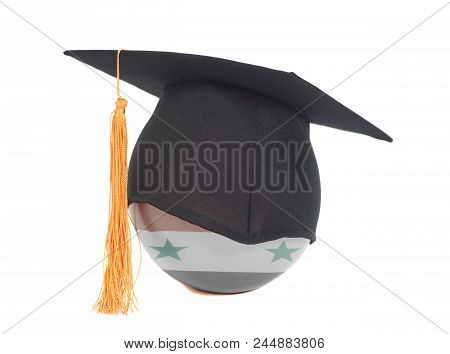 Graduation Cap And Flag Of Syria Isolated On A White Background