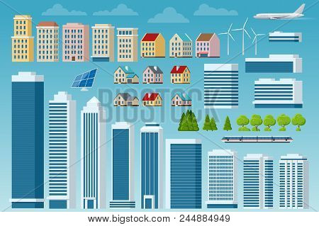 Vector Big Set Of City And Suburban Constructor. City Street, Large Modern Buildings, Cityscape, Car