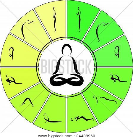 Vector Illustration of Yoga Surya Namaskara