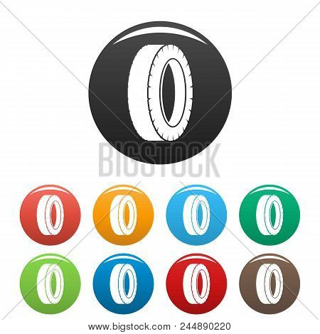 Turning Tire Icon. Simple Illustration Of Turning Tire Vector Icons Set Color Isolated On White