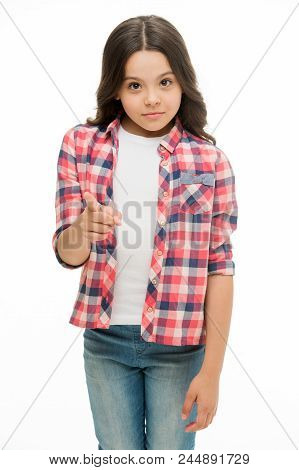 Hey You. Kid Girl Long Curly Hair Strictly Pointing Forward. Girl Curly Hairstyle Adorable Strict Wa