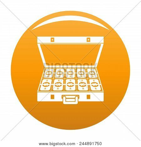Suitcase Money Icon. Simple Illustration Of Suitcase Money Vector Icon For Any Design Orange