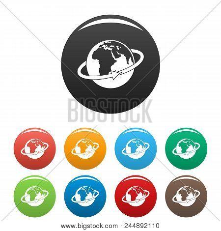 Flight Around Earth Icon. Simple Illustration Of Flight Around Earth Vector Icons Set Color Isolated