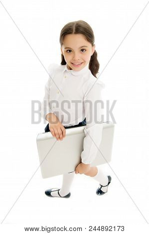 Modern Technic Education Includes Using Laptop. Girl Cute Long Curly Hair Isolated White Background.