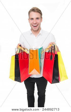 Man Happy Client Received Packages Purchases. Delivery Service. Guy Buy Fashionable Clothes Online.