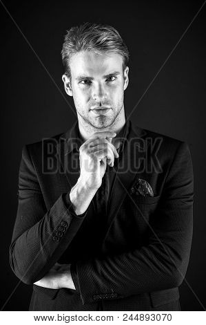 Let Me Think. Man Well Groomed Elegant Formal Suit Thinking Black Background. Macho Thoughtful Makin