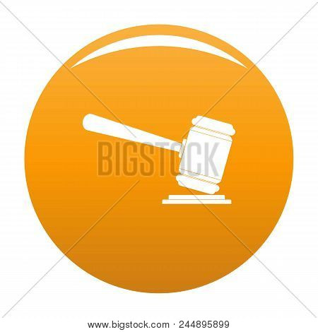 Judge Gavel Icon. Simple Illustration Of Judge Gavel Vector Icon For Any Design Orange