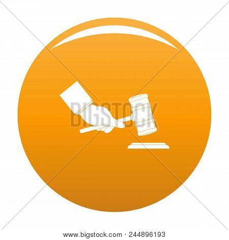 Gavel In Hand Icon. Simple Illustration Of Gavel In Hand Vector Icon For Any Design Orange