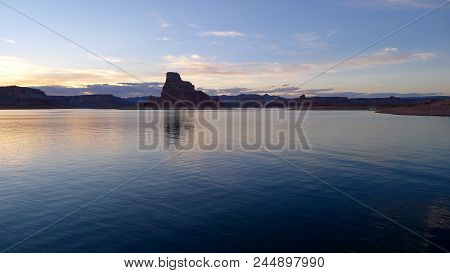 Sunset Over The Rock Formation On Lake Powell