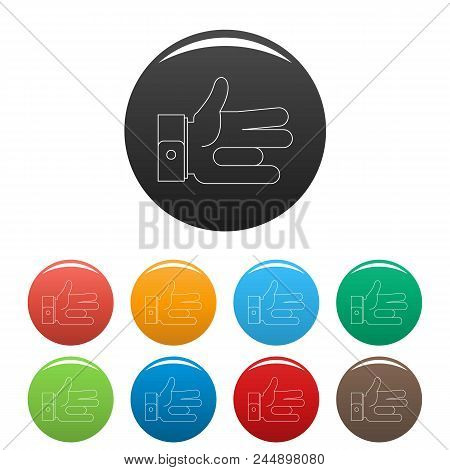 One Finger Icon. Outline Illustration Of One Finger Vector Icons Set Color Isolated On White