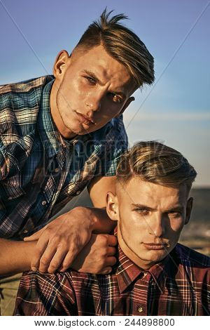 Twin Brothers Man Outdoor, Relations. Partnership, Future, Support And Trust. Fashion For Men, Summe