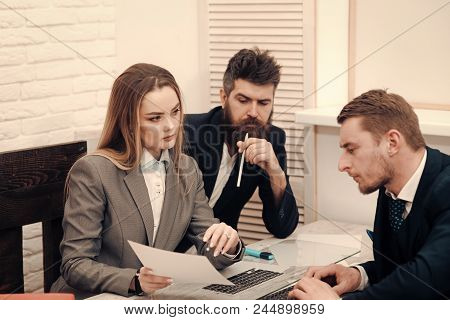 Business Negotiations Concept. Business Partners, Businessmen At Meeting, Office Background. Woman L