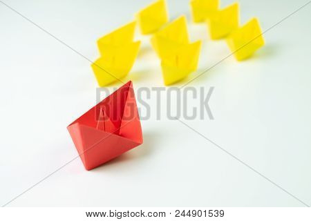 Big Red Paper Ship Origami Lead In Front Of Others Followers Small Yellow Fleet, Leadership, Influen