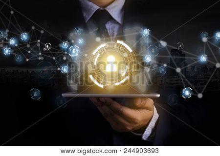 Businessman Touching Network  Data  People International Networking Communication Customer