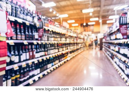 Vintage Blurred Wine Shelves Customer Shopping At Supermarket In Usa