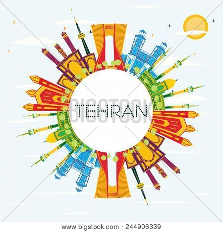 Tehran Skyline with Color Landmarks, Blue Sky and Copy Space. Business Travel and Tourism Concept with Historic Buildings. Tehran Cityscape with Landmarks.